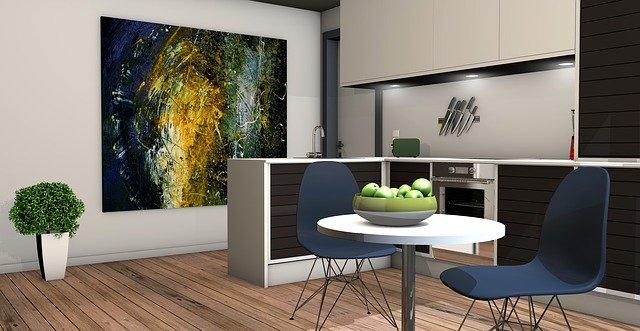 návrh kuchyně s moderním obrazem