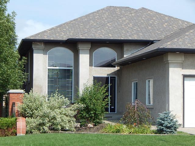 květiny, dům, černá střecha, velká okna