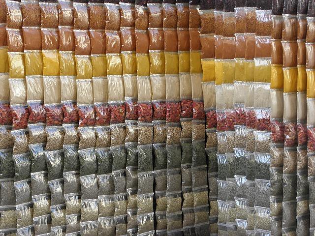 plastové sáčky s kořením