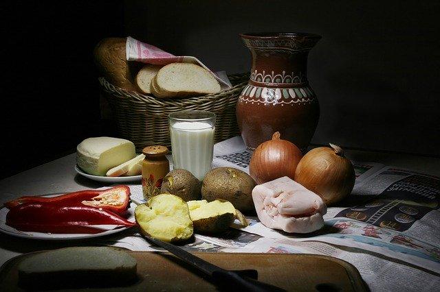 večeře, zátiší, brambory, cibule